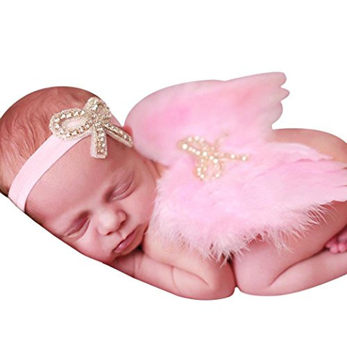 Cute Halloween Baby Names (Bestpriceam Newborn Baby Cute Feather Butterfly Wings Photo Prop Girls Hair Accessories (Pink))
