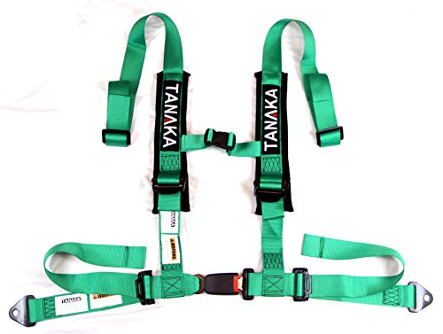 Tanaka Phantom Series Buckle 4 Point Safety Harness Set with Ultra Comfort Heavy Duty Shoulder Pads (Green)
