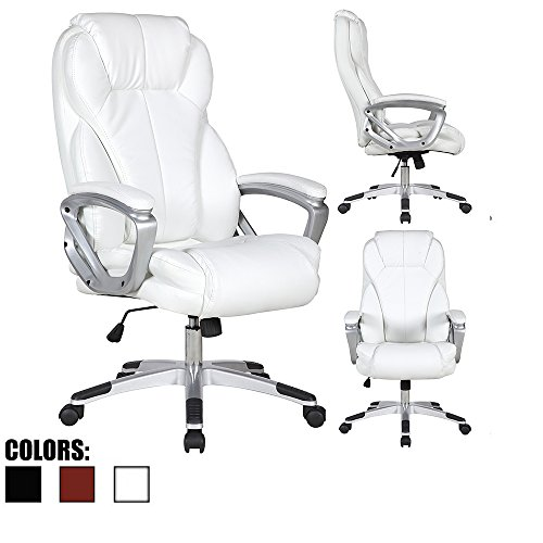 2xhome - White - Deluxe Professional PU Leather Tall and Big Ergonomic Office High Back Chair Boss Work Task Computer Executive Comfort Comfortable Padded Loop Arms by 2xhome