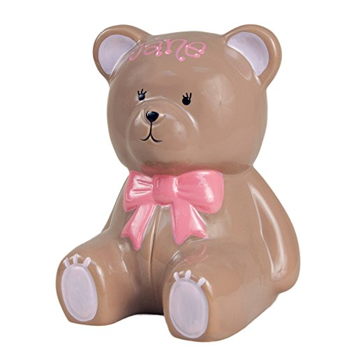 Girl's Personalized Ceramic Teddy Bear Bank