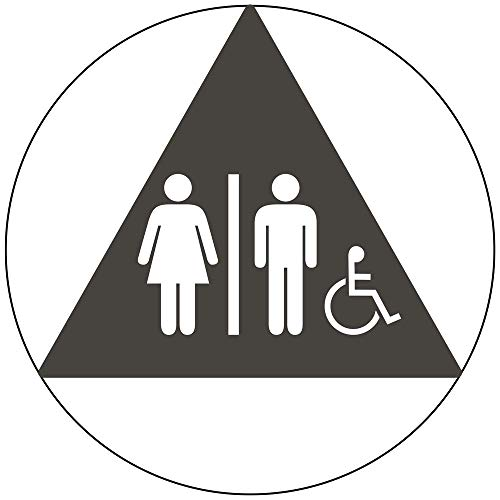 (Accessible Unisex Restroom Door Symbol Tactile Sign, 12 in. Charcoal Gray on Charcoal Gray Acrylic with Adhesive Mounting Strips by ComplianceSigns)