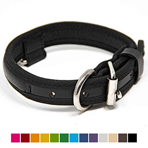 Logical Leather Premium Leather Dog Collar - Best Full Grain Heavy Duty Genuine Leather Collars (Black, Small)