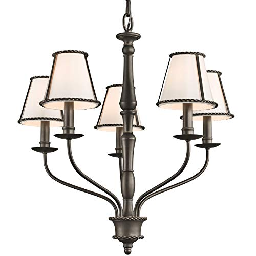 (Kichler 43339OZ Donington 5-Light Chandelier, Olde Bronze Finish with Ivory Fabric Shades)