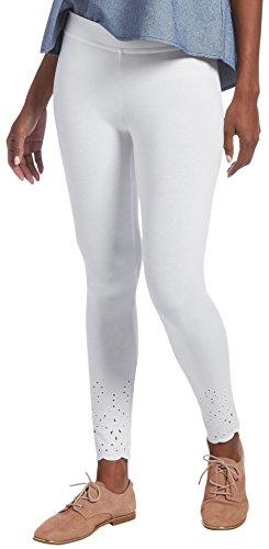HUE Women's Eyelet Embroidered Hem Cotton Skimmer Legging, White, M - Hue Leggings