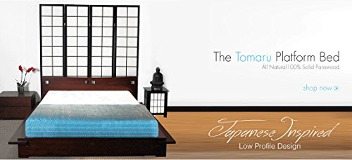 Tomaru Platform Bed Asian Style Wood Bed Frame with Headboard (Dark Walnut)