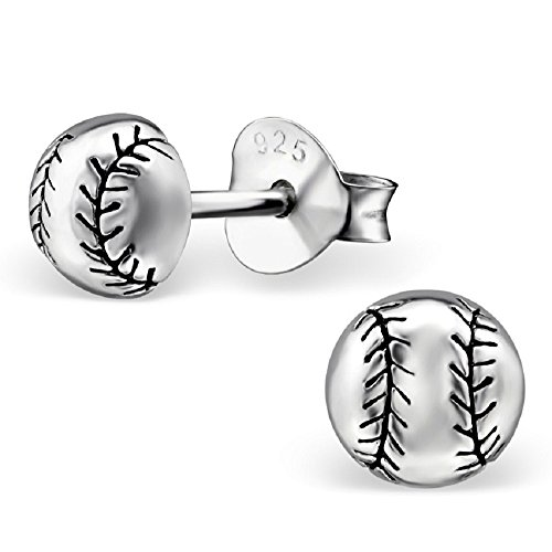 Sterling Silver Baseball Post Earrings - 3
