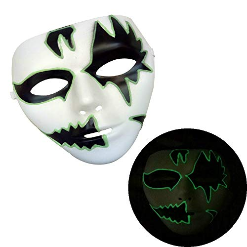 Cywulin Halloween Party Scary Props Luminous Skeleton Skull Mask Full Face Light Up Horror Cosplay Costume for Men Women Kids (A)]()