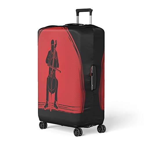 Semtomn Luggage Cover Artist Cello Player Designed on Sunset Graphic Cellist Classic Travel Suitcase Cover Protector Baggage Case Fits 22-24 Inch ()