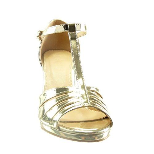 Toe Talon Cönique Lanière Or Multi cm Haut Salomés 8 Verni Femme Escarpin Angkorly Chaussure Sexy 5 Bride Peep Sandale Mode qfxwgxS0