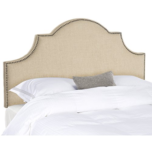 Safavieh Hallmar Hemp Linen Upholstered Arched Headboard - Brass Nailhead (Bedroom Fabric Headboard)