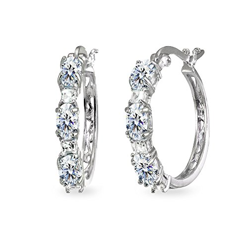 - Sterling Silver 5x3mm Oval & Princess-cut Filigree Hoop Earrings Made with Swarovski Zirconia