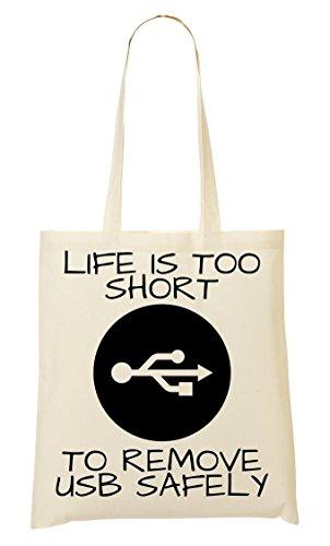 CP Life Is Short To Remove Usb Safely Bolso De Mano Bolsa De La Compra