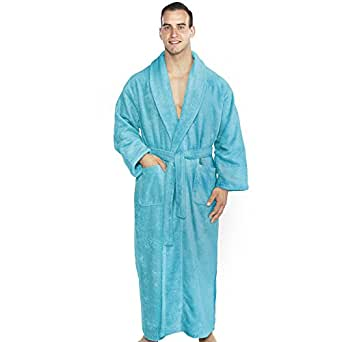 TurkishTowels Mens and Womens Original Terry Shawl Turkish Bathrobe, 100% Combed Pure Turkish Cotton Terry Robe (Small, Aqua)