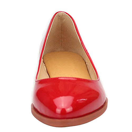Fereshte Slip Bout Confortable En Ballerines Red Pointu 1227 Cuir q6Bxwnx8