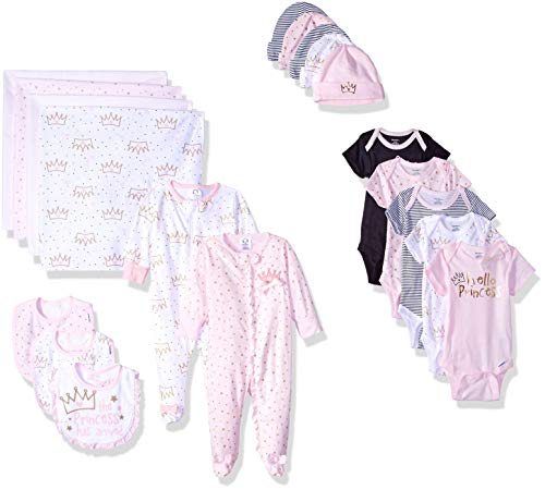 - Gerber Baby Girls' 19-Piece Essentials Gift Set, Princess Crown, Newborn