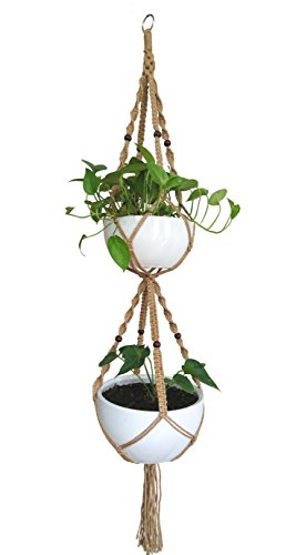 Macrame Plant Hanger & Holder, Hanging Planter 4 Legs Double Deck For 8 inch to 10 inch Two Pots Indoor Outdoor Hanging Planter Hemp Rope 67 Inch with Metal ring (Jute)
