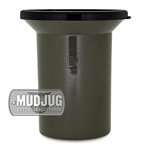 (Mudjug Roadie Portable Spittoon Traveler - Virtually Spillproof - Fits Most Cupholders - Military Green)