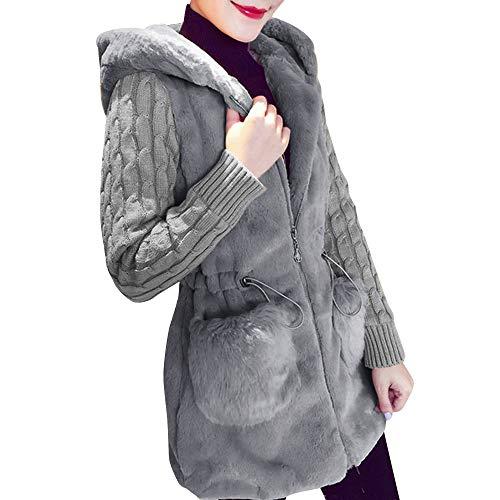 pour Manteau de femmes Npradla capuche décontracté à longues à Grau manches RxCqw0