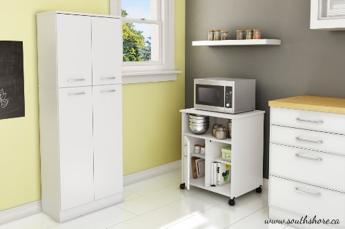 South Shore Fiesta Microwave Cart with Storage on Wheels, Pure White