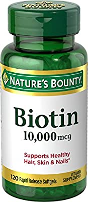 Nature's Bounty Biotin Supplement, Supports Healthy Hair, Skin, and Nails, 10000mcg, 120 Softgels