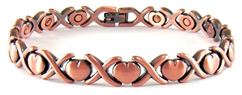 Copper Link Womens Magnetic Bracelet Hearts Amori Hearts and Kisses (8.5 Inches) ProExl Box (Magnetic Bracelet Kisses)