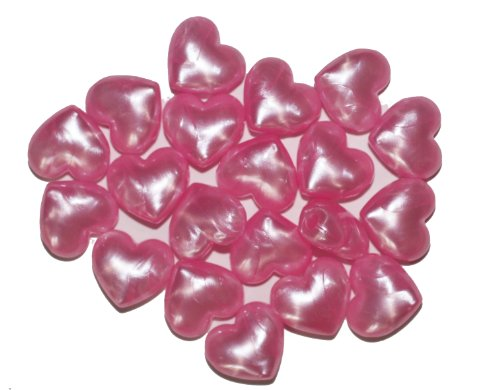 PINK PEARL HEART PONY BEADS LARGE HOLE pk/40 Pink Heart Bead