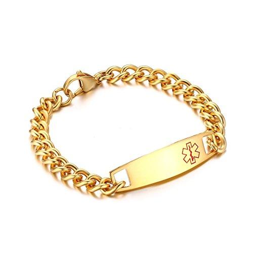 DIB Free Engraving Stainless Steel Medical Alert ID Bracelets Men Women Gold, 8.5 inch ()