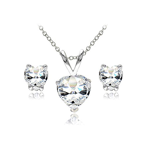 Sterling Silver White Topaz Heart Solitaire Necklace and Stud Earrings Set