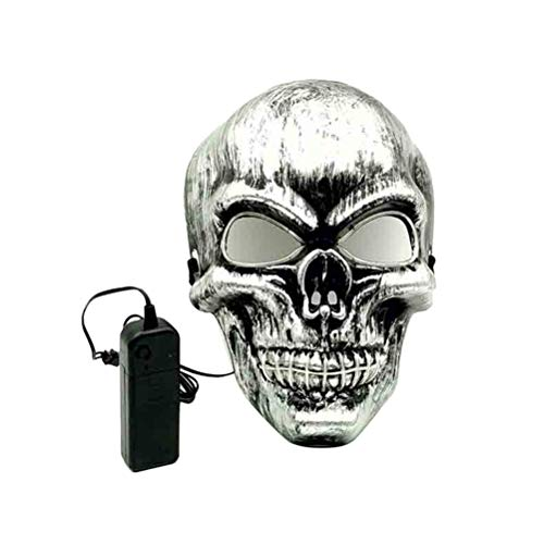 Amosfun Luminous Skull Mask Prop Mask Dressing up Accessory for Halloween Masquerade Costume Party Carnival Performance (Without Battery)