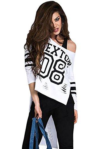 Neue Damen weiß Lang Rückseite bedruckt Lange Ärmel Top T-Shirt Club tragen Tops Casual Wear Kleidung Größe M UK 10�?2EU 38�?0