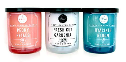 (Variety Bundle of 3 DW Home Richly Scented Candles in Peony Petals,Fresh Cut Gardenia, and Hyacinth Bloom Scents. 4 oz each candle)