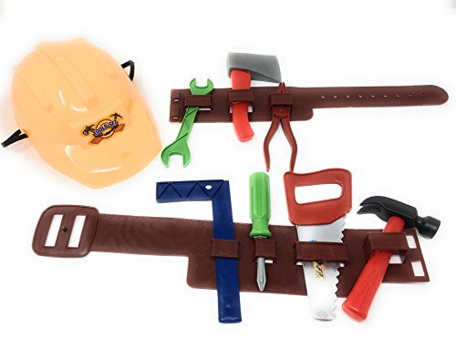 Kool Kidz Tool Belt Toy Set with set of kid tools and kid yellow construction hat. Perfect tool set for toddlers