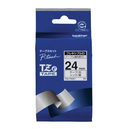 Brother Industries, Ltd. TZe tape flexible ID tape (white / black) 24mm TZe-FX251 from Brother