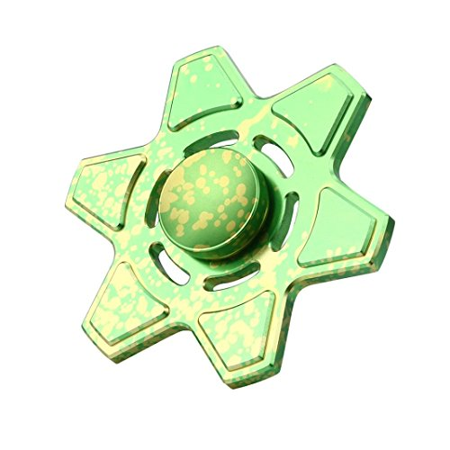 Coohole Tri Fidget Hand Spinner Triangle Torqbar Finger Toy EDC Focus ADHD Autism Kid Toy (Green) - 2