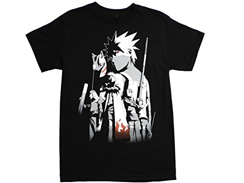 Ripple Junction Naruto Shippuden Adult Unisex Kakashi Story Heavy Weight 100% Cotton Crew T-Shirt LG Black