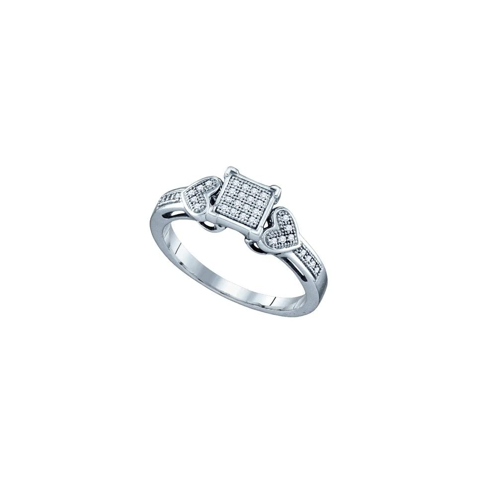 Ladies .925 White Gold Finish Diamond Square Heart Bridal Band Ring