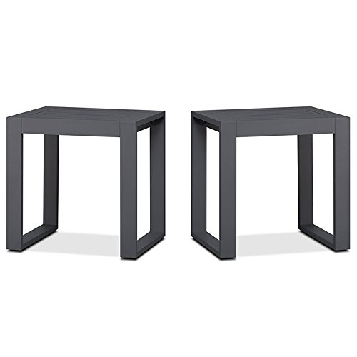 Real Flame Baltic Aluminum Patio End Table in Gray (Set of (Aluminum End Table)