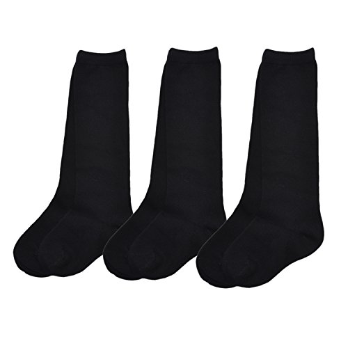 (Vearin Girls' Knee High School Uniform Seamless Sock Pack of 3 (Black, Small:4-6 Years))