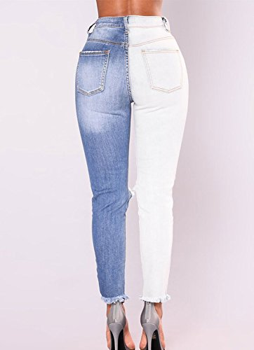 Crayon Dchirs lastique Jeans Slim Runyue Rtro Boyfriend Haute Pantalon Slim Femme Denim Trous Taille n7wSAAYq
