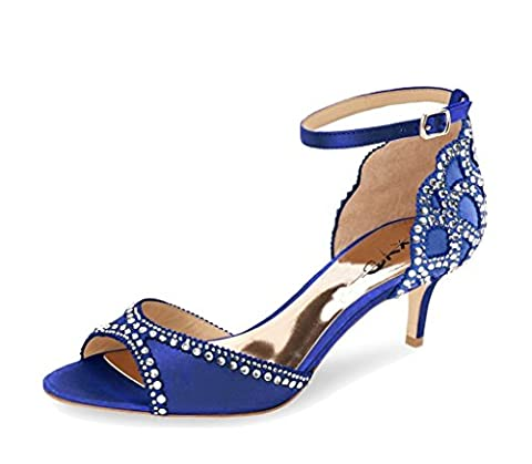 XYD Ballroom Dance Shoes Wedding Sandals Pumps with Rhinestones Ankle Strap Peep Toe Heels for Women Size 12 Navy