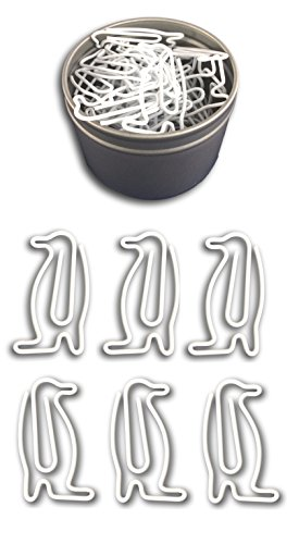Butler in the Home Animal Penguin Shaped Paper Clips 50 Count in Silver Tin and Silver Gift Box Great For Paper Clip Collectors or Animal Lovers (White)
