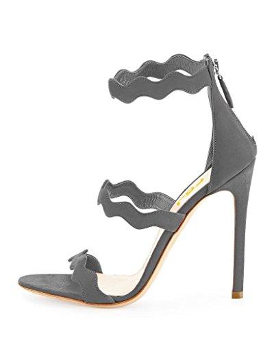 Dress Zipper High Grey Toe Open Shoes Sandals 15 Pumps 4 Stilettos Chic Heels Women with Size FSJ 17qa8nUq