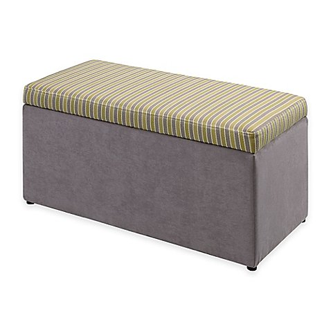 Tree House Lane Kids Striped Upholstered Toy Chest in Lime and Grey by Generic