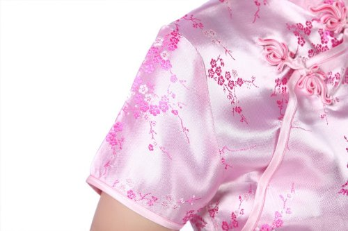 ACVIP Pink Brocade Qipao Mini ACVIP Brocade Modified Traditional Dress Chinese ErEz0qB