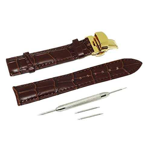 Buckle Push Deployant Button - Calf Leather Watch Band Replacement Watch Strap with Push Button Butterfly Deployant Buckle Clasp Golden Stainless Steel 22mm (Brown)