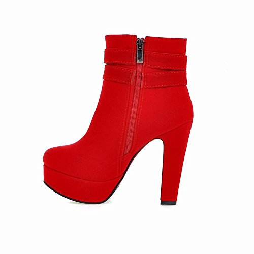 Red Platform Suede Heel Buckle Short Women's High Sexy Grace Carolbar Boots qv70vU