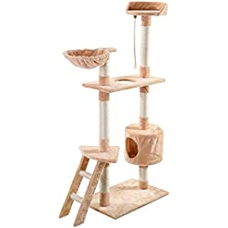New 60 Cat Tree Tower Condo Scratcher Furniture Kitten Pet House Hammock Beige Ship from CA,KS! Receive in 1-3 Days! by Goplus