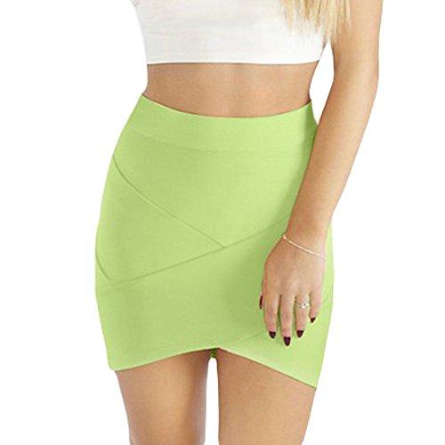 Women's Mini Sexy Verde Skirt Irregular Bandage Chiaro HLBandage vRpdxwqp