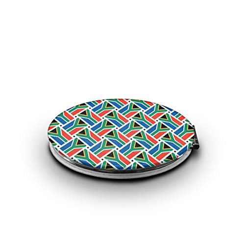 ZORITO Makeup Mirror South Africa Flag Weave Double-Sided Portable Folding Mirror Stainless -