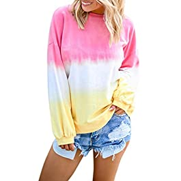 Women's Tie Dye Blouses Crewneck Pullover Casual Contrast Color Tops Long Sleeve Plus Size T Shirt Sweatshirt Oversized Hoodie Baggy Jumper,T-Shirts Yoga Fitness